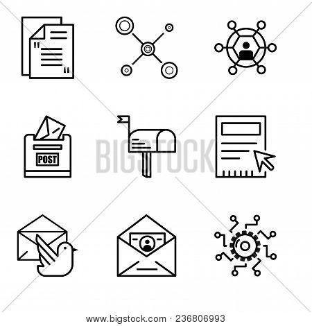 Set Of 9 Simple Editable Icons Such As Settings, Id And Mail, Mail Bird, Blank, Mail, Post Box, User