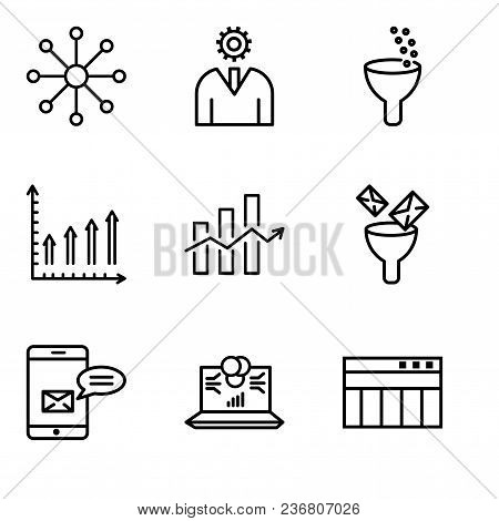 Set Of 9 Simple Editable Icons Such As Table For Data, Laptop Data Analytics On Screen With Circles,