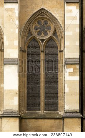 London - July 29, 2017: One Of The Beautiful Stained-glass Windows Of Westminster Abbey In London, E