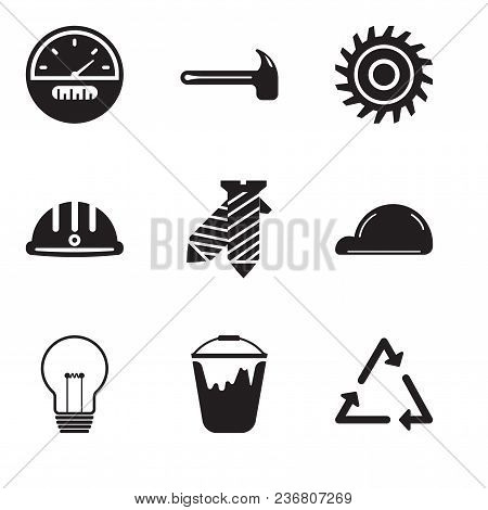 Set Of 9 Simple Editable Icons Such As Triangle, Colour Bucket, Bulb, Helmet, Tie, Hard Hat, Saw Bla