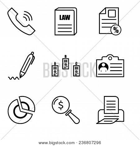 Set Of 9 Simple Editable Icons Such As Print, Lens, Pie Chart, Document, Folder, Pen, Document Perce