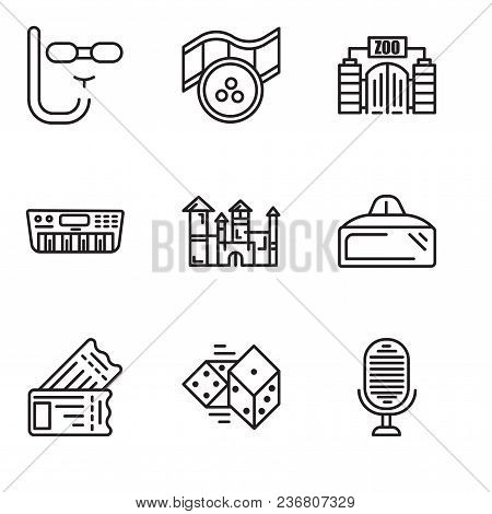 Set Of 9 Simple Editable Icons Such As Microphone, Dices, Tickets, Vr Glasses, Disneyland, Synthesiz
