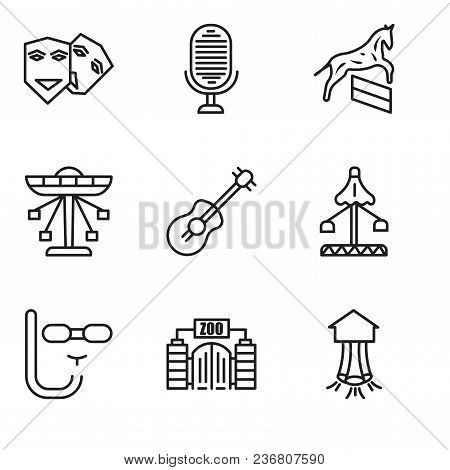 Set Of 9 Simple Editable Icons Such As Park, Zoo, Diving Mask, Fair, Guitar, Carousel, Horse, Microp