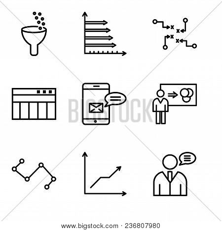 Set Of 9 Simple Editable Icons Such As User Data Speech, Data Analytics Descending, Nodes Connection