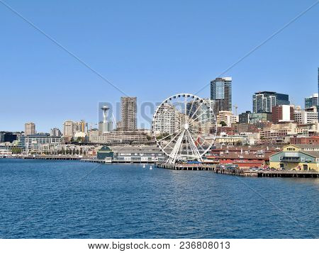 Seattle, Washington, 9/14/17, Seattle Waterfront And Downtown Skyline Icluding The Iconic Space Need