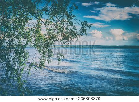 Panoramic view of the Kama river at summer sunny day. Russian landscape. Toned