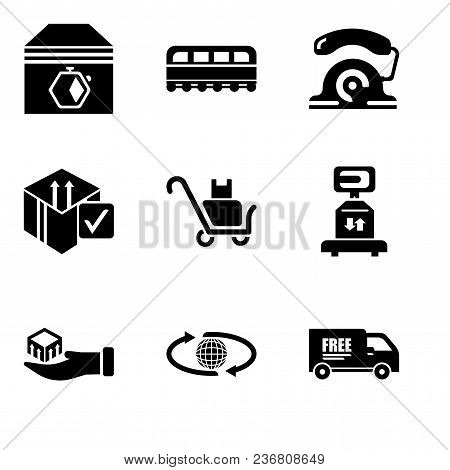 Set Of 9 Simple Editable Icons Such As Free Delivery Truck, International Delivery, Package Delivery