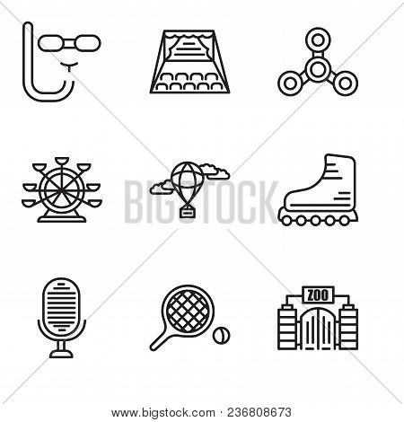 Set Of 9 Simple Editable Icons Such As Zoo, Table Tennis, Microphone, Rollers, Hot Air Balloon, Ferr