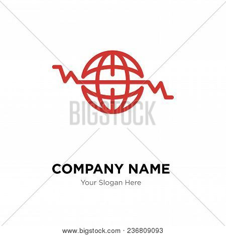Global Heart Beat Company Logo Design Template, Business Corporate Vector Icon