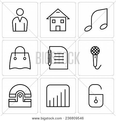 Set Of 9 Simple Editable Icons Such As Locked Padlock, Coverage Level, Old Phone, Voice Recorder, Pi