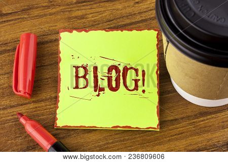 Writing Note Showing  Blog Motivational Call. Business Photo Showcasing Preperation Of Attractive Co