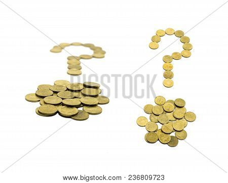 Question Mark Composed Of 10 Euro Cent Coins. Isolated On White