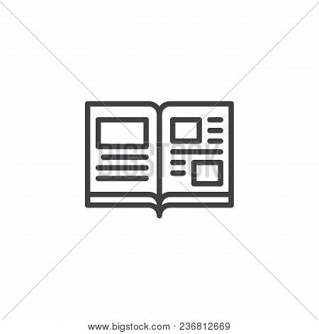 Open Book Pages Outline Icon. Linear Style Sign For Mobile Concept And Web Design. Magazine Open Pag