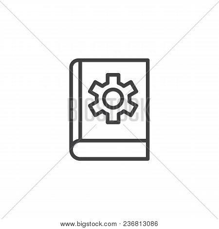 Book With Cog Gear Outline Icon. Linear Style Sign For Mobile Concept And Web Design. Settings Instr