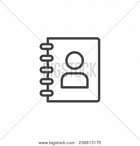 Notebook With Person Outline Icon. Linear Style Sign For Mobile Concept And Web Design. Address Cont