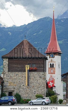 Tell Museum And The Tower Of The Parish Church Of St. Peter And Paul - Burglen, Switzerland, 20 July