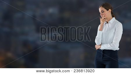 businesswoman in cityscape