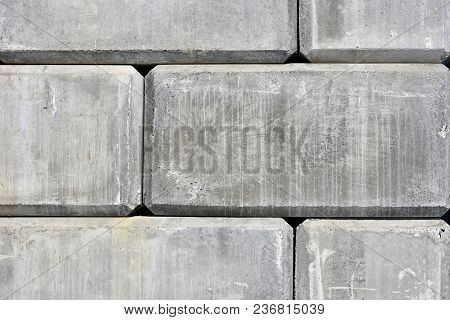 An Abstract Image Of Concrete Block Retaining Wall.