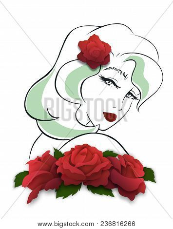 Girl, Bowed Her Head To Her Shoulder, Side View. Looking Over The Shoulder Pose. Red Rose In Her Hai