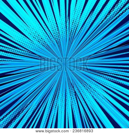 Abstract comic blue background for style pop art design. Retro burst template backdrop. Light rays effect. Vintage comic book style, halftone modern print texture.