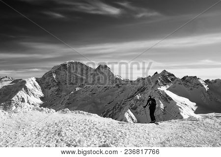 Skier Before The Start On The Off-piste Descent. Caucasus Mountains In Snowy Winter. View On Mount D
