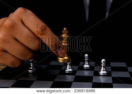 Leadership Concepts. Chess Is A Leader.  Comparing Chess Is A Strategic Business Plan. Businessman I