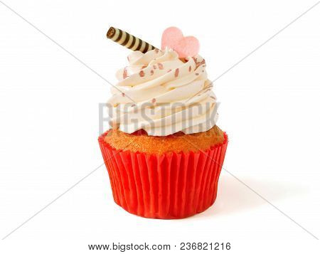 Cupcake With Buttercream Frosting Isolated On White Background