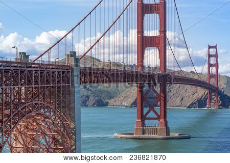 View Of The Golden Gate Bridge From Above Fort Point Looking Towards Marin Headlands. San Francisco,