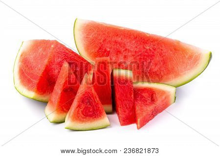 Watermelon And Watermelon Pieces Isolated On A White Background