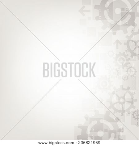 Vector Technology In The Form Of Gear On A Gray Background.