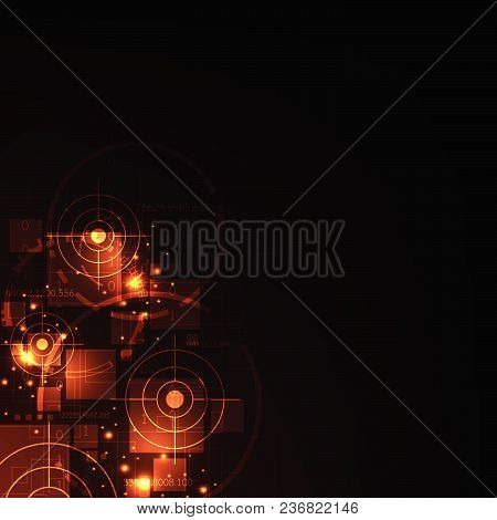 Technology Related To Digital Search On A Dark Orange Background.
