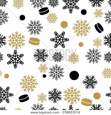 Seamless Pattern With Gold And Black Snowflakes And Cakes. Winter Holiday Ornament With Fairy Snowfa