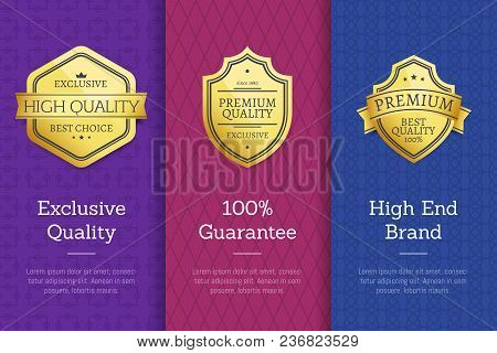 Exclusive Quality 100 Guarantee High End Check Golden Labels Set Of Logos Design On Colorful Posters