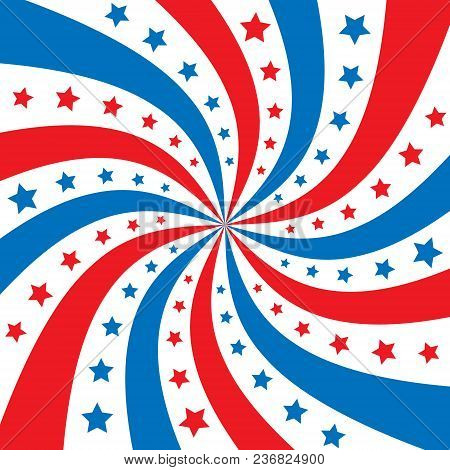 Patriotic Background With Blue And Red Swirl Rays And White Star Decorations. Vector Illustration