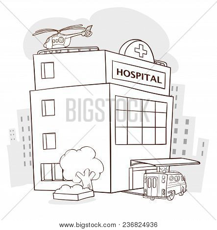 Hospital Building, Medical Icon. Healthcare, Hospital And Medical Diagnostics. Urgency And Emergency