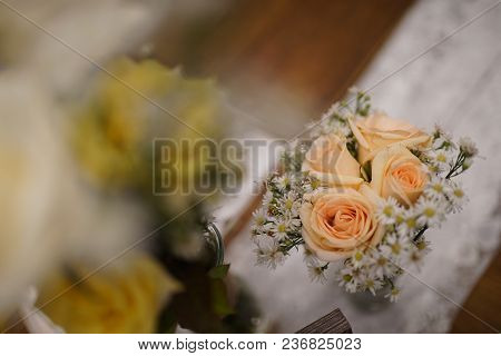 Flower In Vase At Table, Setting For A Wedding Party, Birthday, Or Dinner Event