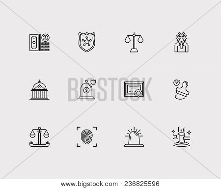Law Icons Set. Stamp And Law Icons With Police, Scale And Insurance. Set Of Weigh For Web App Logo U