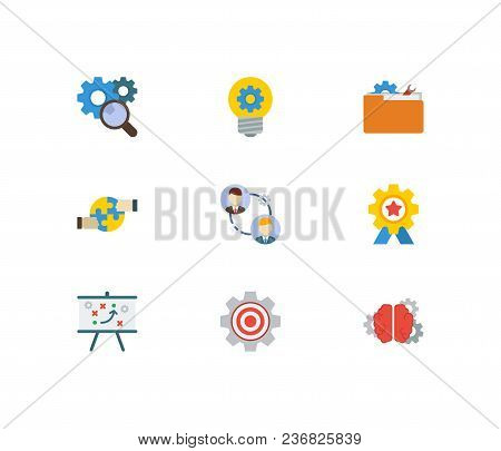 Technology Cooperation Icons Set. Technical Strategy And Technology Cooperation Icons With Cooperati