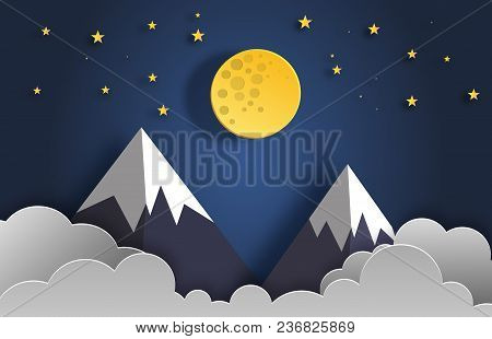 Paper Art Style Of Landscape At Night With Moon, Stars, And Mountains Flat-style Vector Illustration
