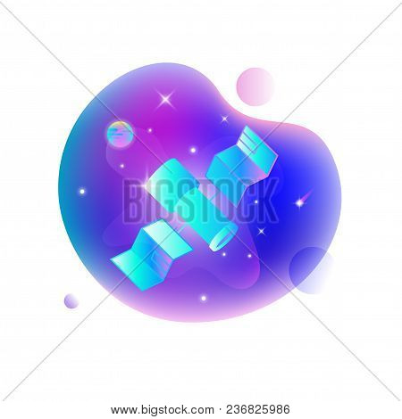 Vector Ui Illustration Of Space Telescope Floating In An Outer Space On Bright Blue Spot.