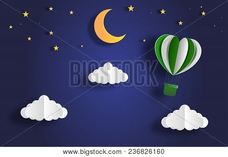 Paper Art Style Of Landscape At Night With Hot Air Balloon On Sky, Full Moon And Stars, Flat-style V