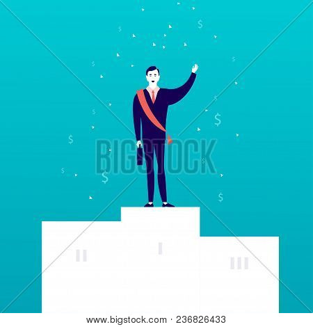 Vector Flat Illustration With Successful Businessman Standing On White Podium With Money Signs Falli