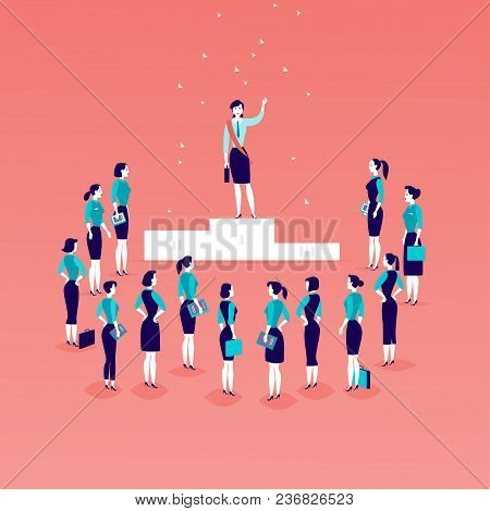 Vector Flat Illustration With Successful Business Lady Standing On Podium In Front Of Office Women A