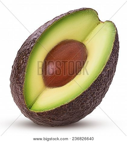 Brown Mature Avocado Three Quarters With Bone Isolated On White Background. Clipping Path. Full Dept