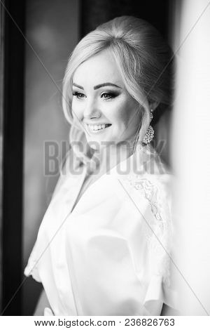 Charming Brides Morning In Hotel. Smiling Bride Dressed.