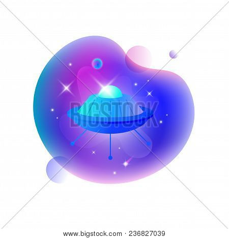 Vector Ui Illustration Of Space Ufo Floating In An Outer Space On Bright Blue Spot.