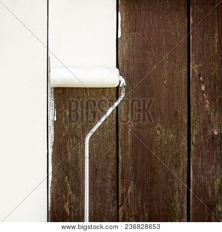 Weathered Slats Or Wooden Fence Background With A Paint Roller And White Paint, Copyspace