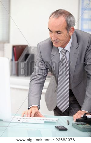 mature ceo working at office