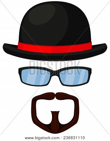Colorful Cartoon Hipster Avatar Set. Bowler Hat, Glasses, Goatee Moustache And Beard. Fashion Vector