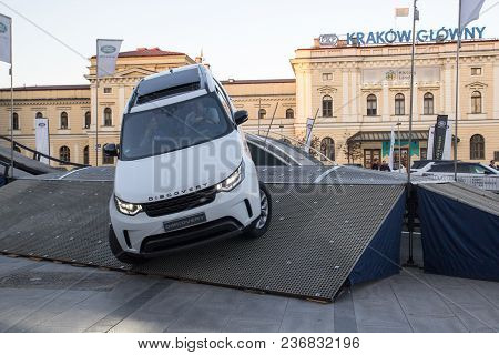 Krakow, Poland, April 18, 2018, Test Drive With Passengers And Obstacles Of Land Rover Discovery Car